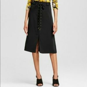 Who What Wear Lace Up Black Front A Line Skirt